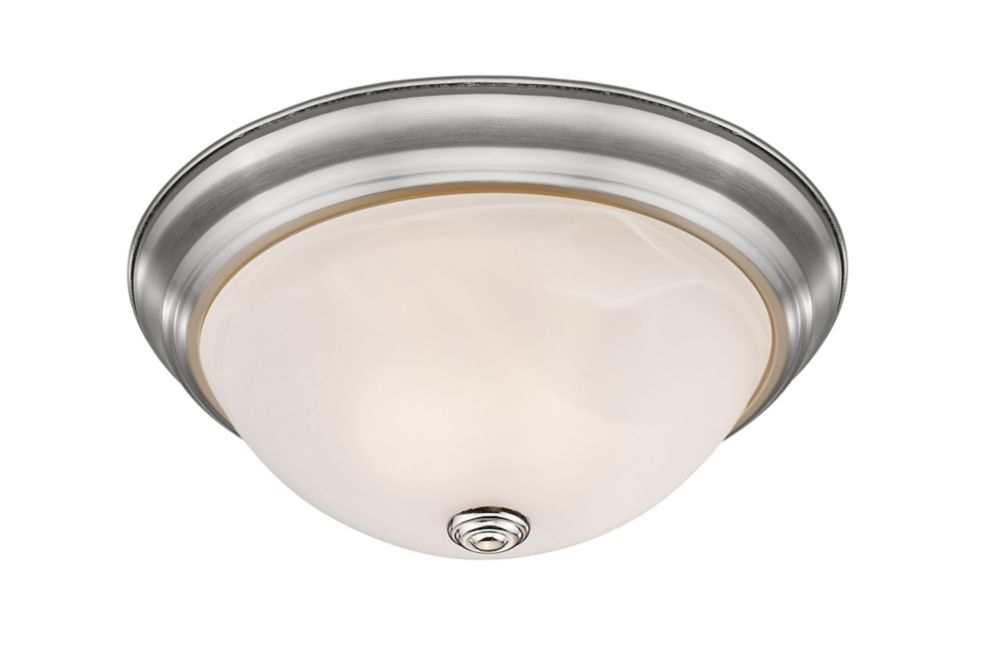 3-Light Brushed Nickel Flush Mount with White Swirl Glass - 15 inch