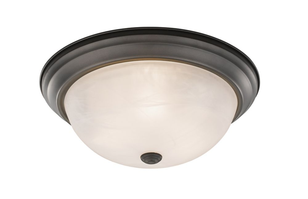 3-Light Bronze Flush Mount with White Swirl Glass - 15 inch