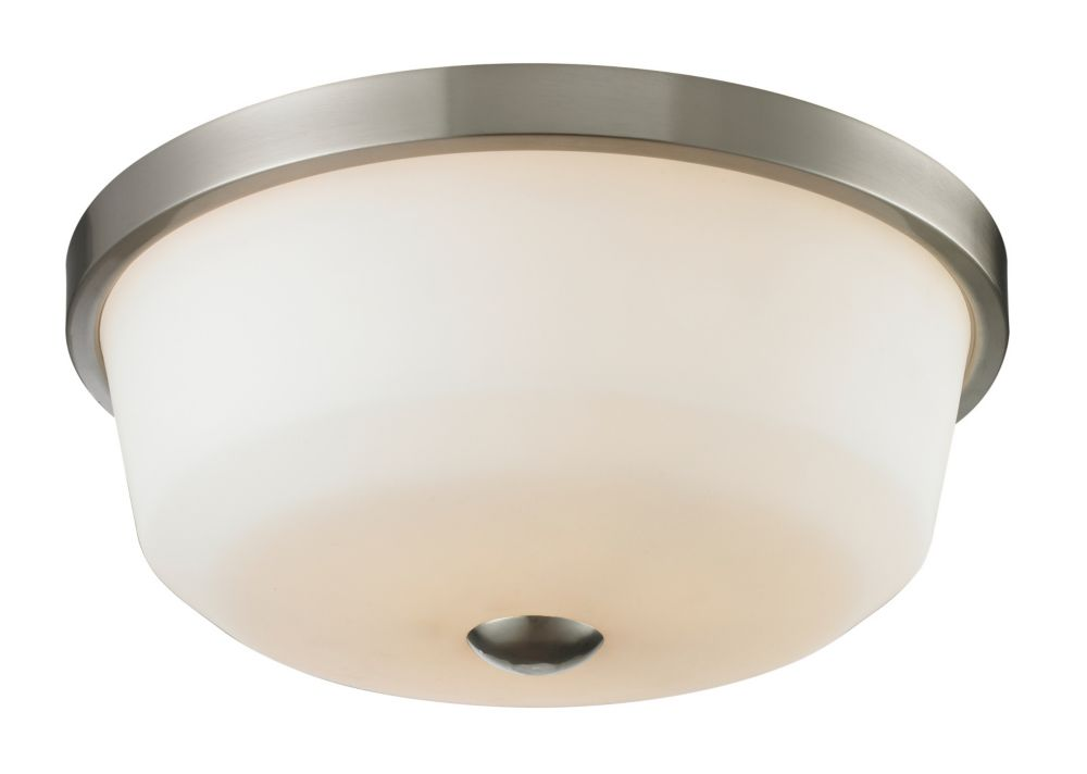 3-Light Brushed Nickel Flush Mount with Matte Opal Glass - 17.75 inch