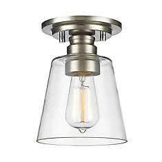 1-Light Brushed Nickel Flush Mount with Clear Glass - 7 inch