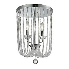 2-Light Chrome Flush Mount - 12 inch