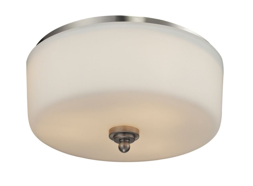 3-Light Brushed Nickel Flush Mount with Matte Opal Glass Shade(s) - 13 inch