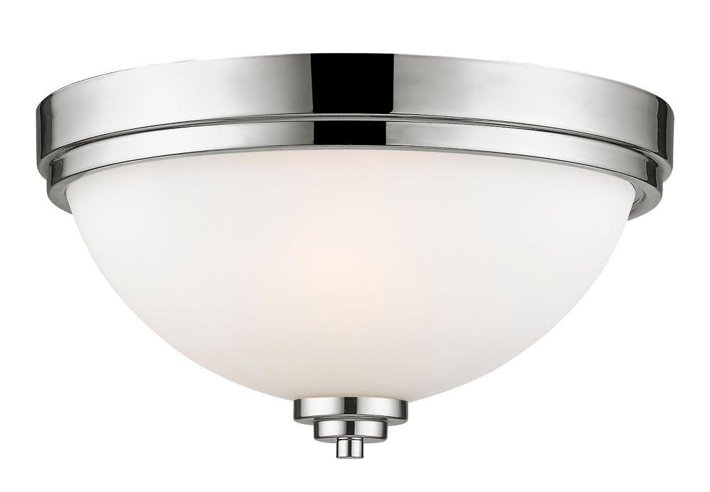 2-Light Chrome Flush Mount with Matte Opal Glass Shade - 13 inch