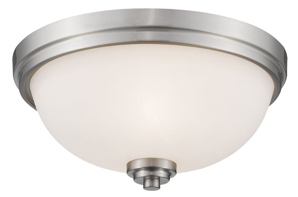 3-Light Brushed Nickel Flush Mount with Matte Opal Glass Shade - 15 inch