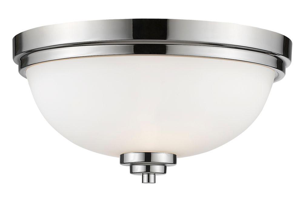 3-Light Chrome Flush Mount with Matte Opal Glass Shade - 15 inch