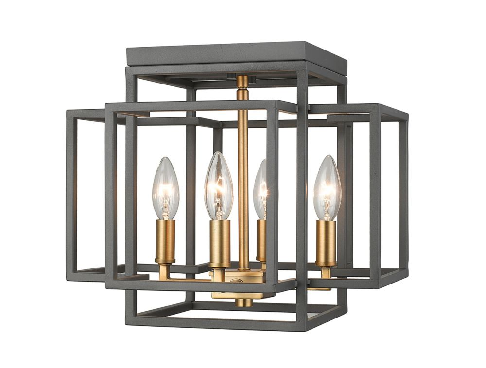 Filament Design 4-Light Bronze and Olde Brass Flush Mount - 14 inch