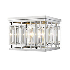 4-Light Chrome Flush Mount with Clear and Chrome Crystal and Steel Shade - 12 inch
