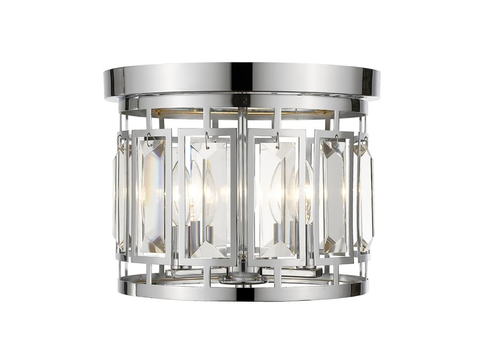 3-Light Chrome Flush Mount with Clear and Chrome Crystal and Steel Shade - 12.5 inch