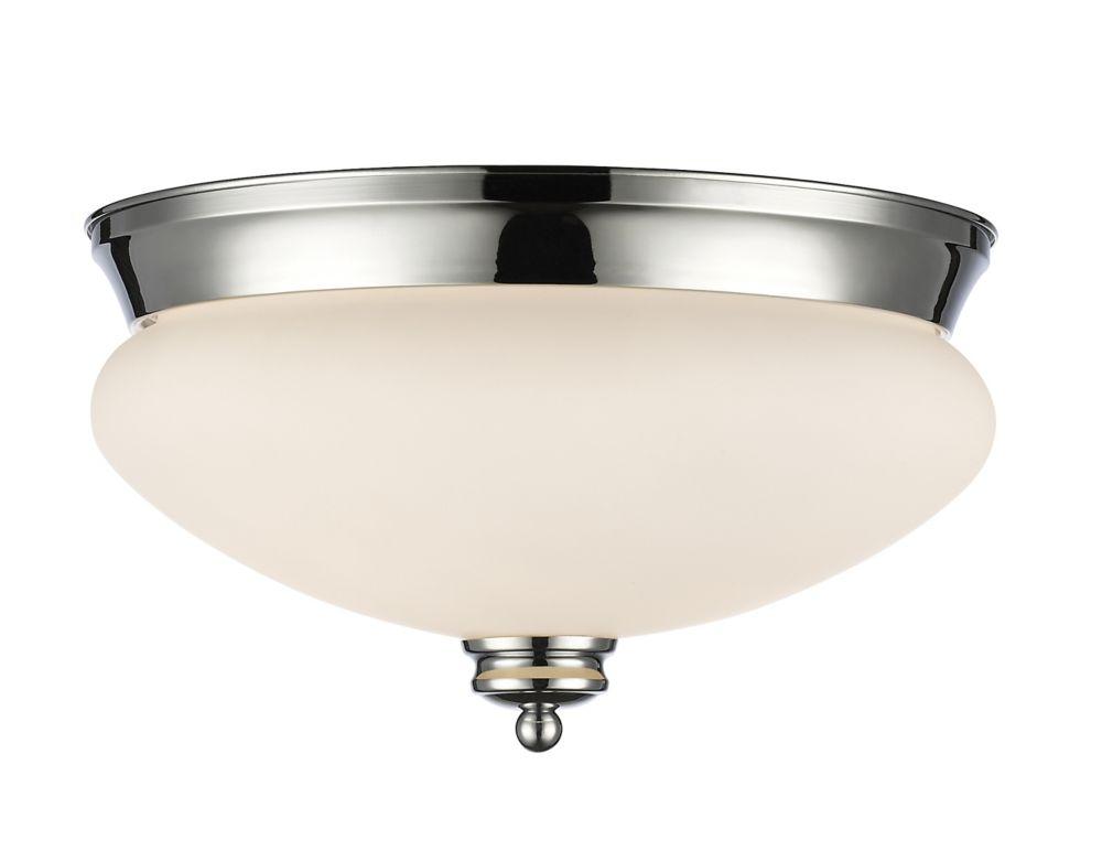 Filament Design 2-Light Chrome Flush Mount with Matte Opal Glass - 13 inch