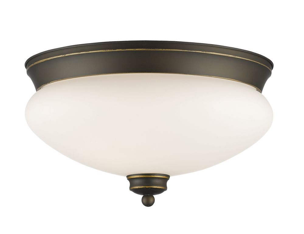 Filament Design 2-Light Olde Bronze Flush Mount with Matte Opal Glass - 13 inch