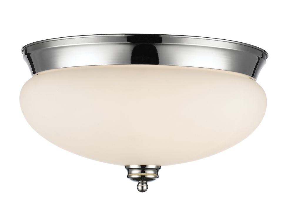3-Light Chrome Flush Mount with Matte Opal Glass - 15 inch