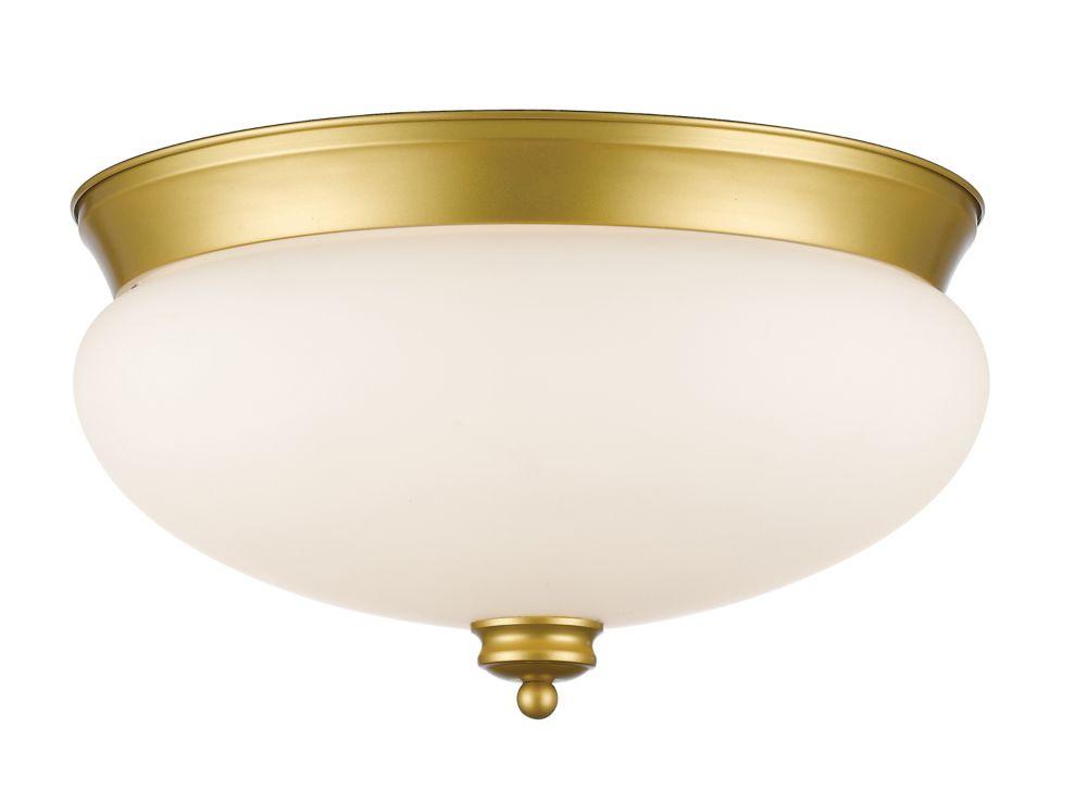 Filament Design 3-Light Satin Gold Flush Mount with Matte Opal Glass - 15 inch