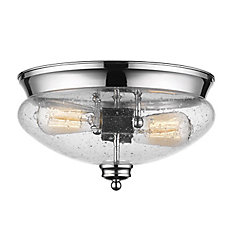 2-Light Chrome Flush Mount with Clear Seedy Glass - 13 inch