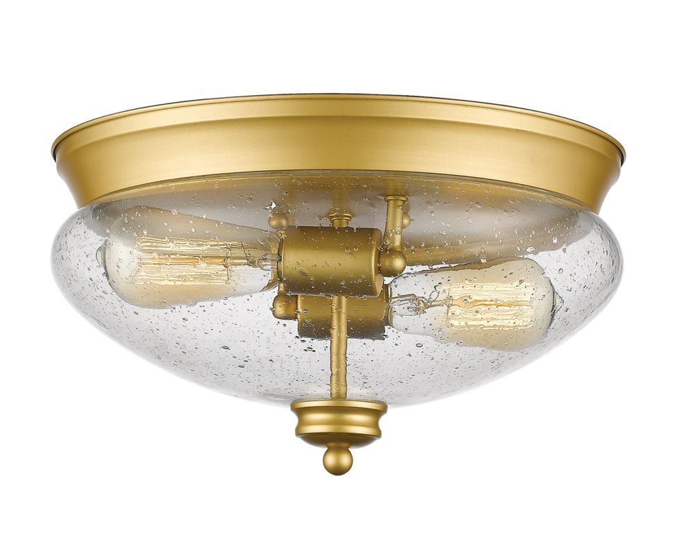 Filament Design 2-Light Satin Gold Flush Mount with Clear Seedy Glass - 13 inch