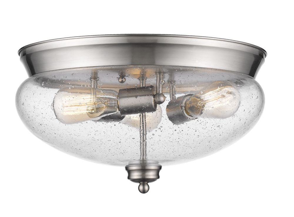 3-Light Brushed Nickel Flush Mount with Clear Seedy Glass - 15 inch