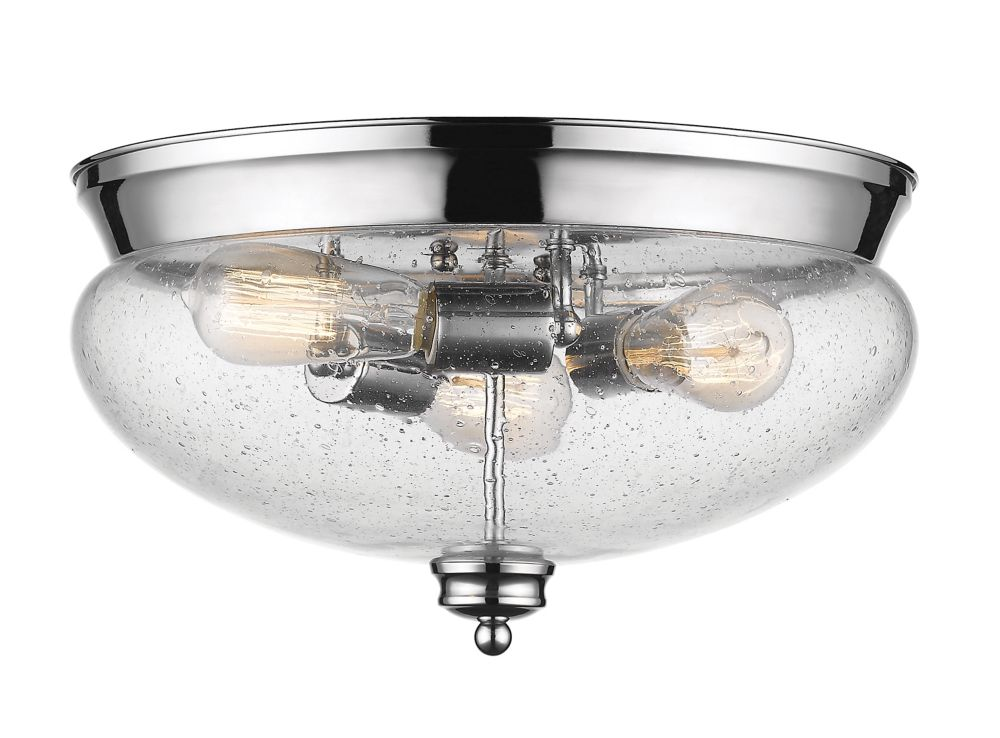 Filament Design 3-Light Chrome Flush Mount with Clear Seedy Glass - 15 inch
