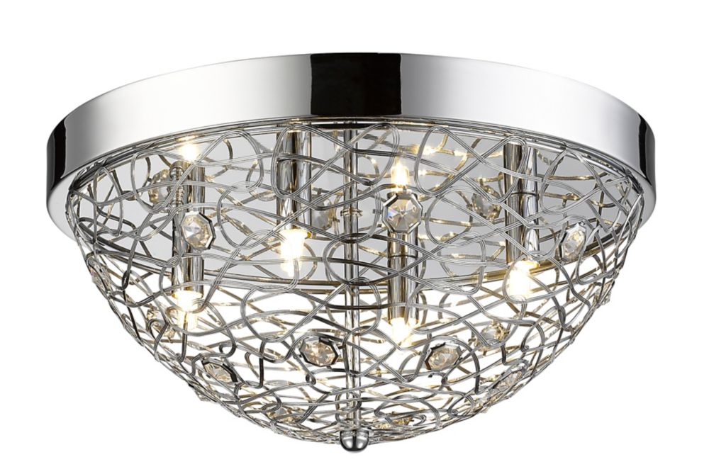 4-Light Chrome Flush Mount with Chrome Crystal and Steel Shade - 15.75 inch