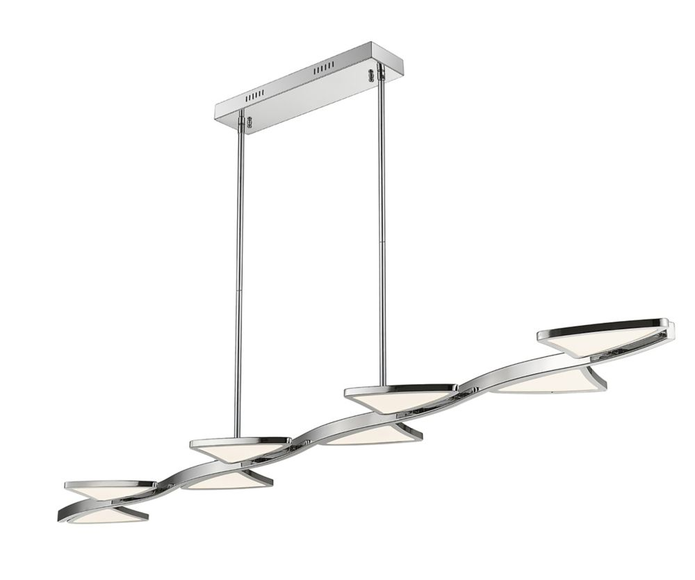 Filament Design LED Chrome Island/Billiard with White Acrylic Shade - 65 inch
