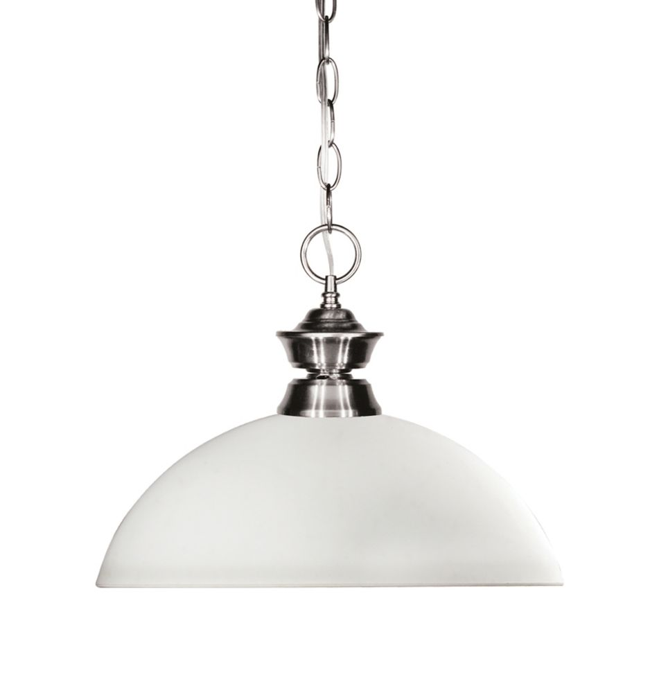 Filament Design 1-Light Brushed Nickel Pendant with Matte Opal Glass - 13.5 inch