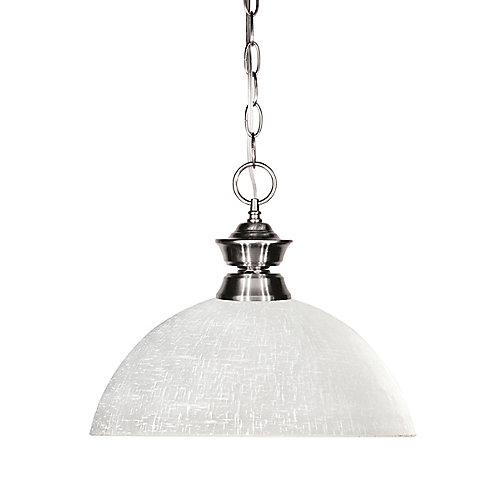 Luminaire suspendu à 1 ampoule nickel et verre lin blanc - 13,5 pouces