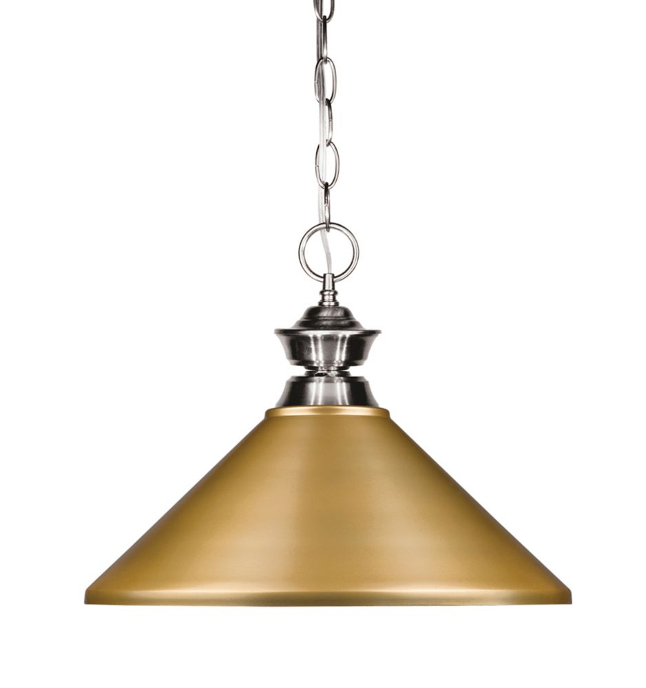 Filament Design 1-Light Brushed Nickel Pendant with Satin Gold Steel Shade - 14 inch
