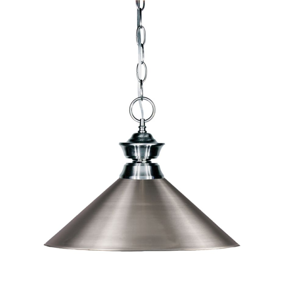 Filament Design 1-Light Gun Metal Pendant with Brushed Nickel Steel Shade - 14.25 inch