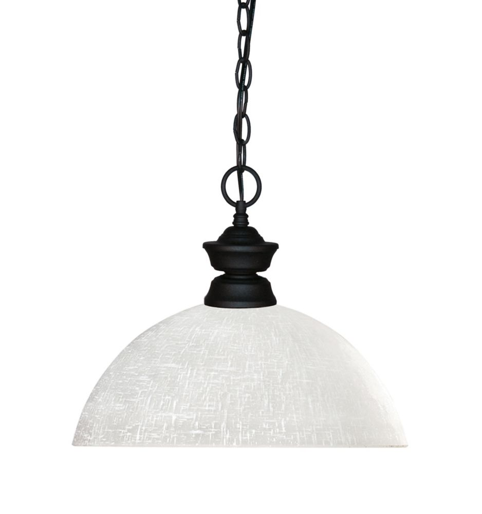 Filament Design 1-Light Matte Black Pendant with White Linen Glass - 13.5 inch