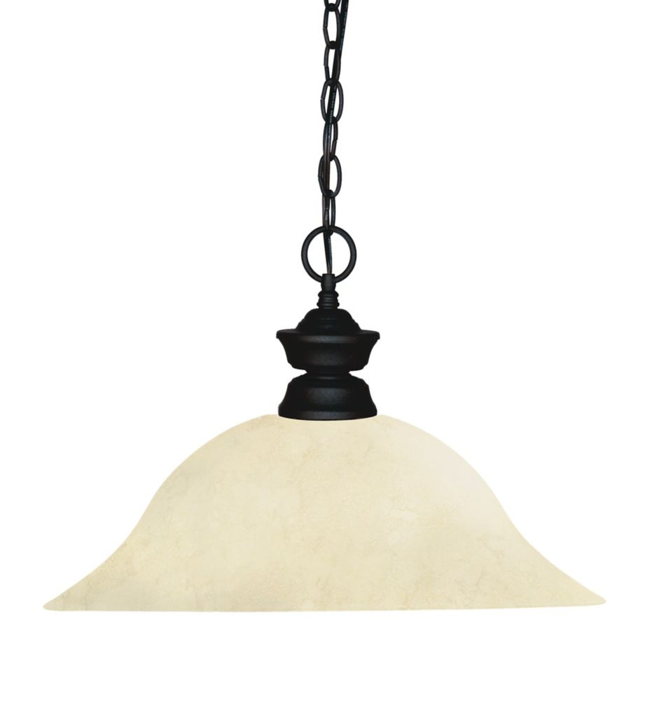 Filament Design 1-Light Matte Black Pendant with Golden Mottle Glass - 16 inch