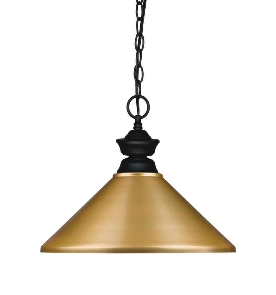 Filament Design 1-Light Matte Black Pendant with Satin Gold Steel Shade - 14 inch