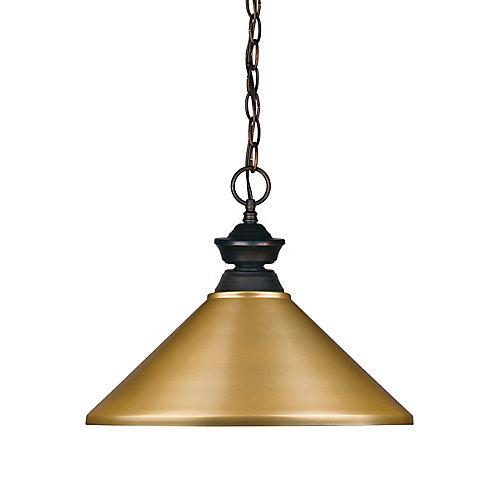 Luminaire suspendu à 1 ampoule bronze avec abat-jour en acier satiné doré