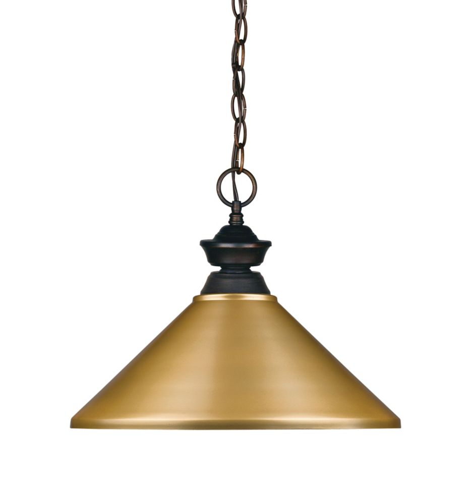 Filament Design 1-Light Olde Bronze Pendant with Satin Gold Steel Shade - 16 inch