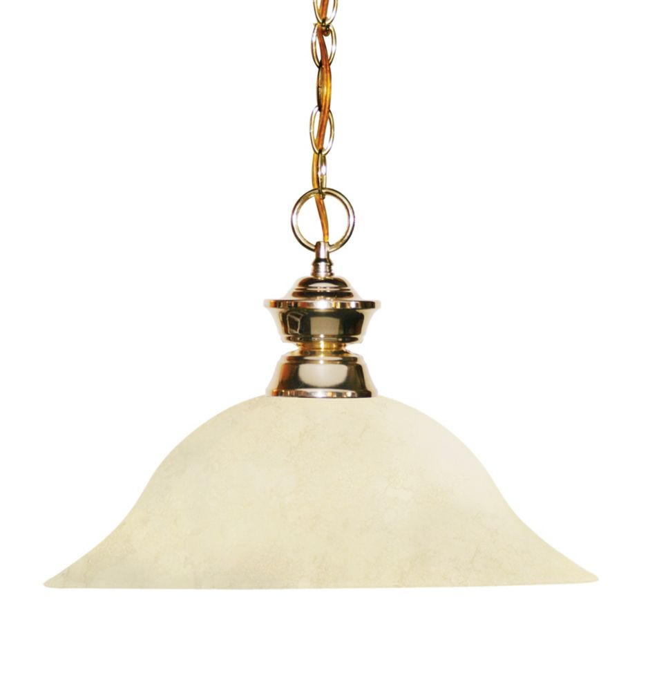 1-Light Polished Brass Pendant with Golden Mottle Glass - 16 inch