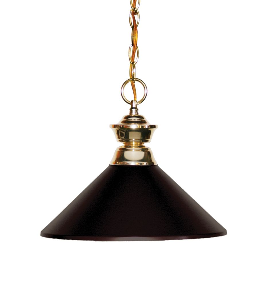 1-Light Polished Brass Pendant with Bronze Steel Shade - 14.25 inch
