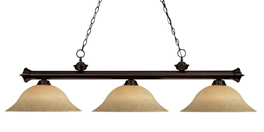 Filament Design 3-Light Bronze Island/Billiard with Golden Mottle Glass - 56 inch