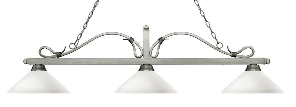 Filament Design 3-Light Antique Silver Island/Billiard with Matte Opal Glass - 57.75 inch