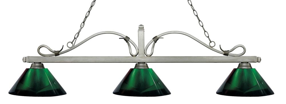 Filament Design 3-Light Antique Silver Island/Billiard with Smoke Acrylic Shade - 58.25 inch