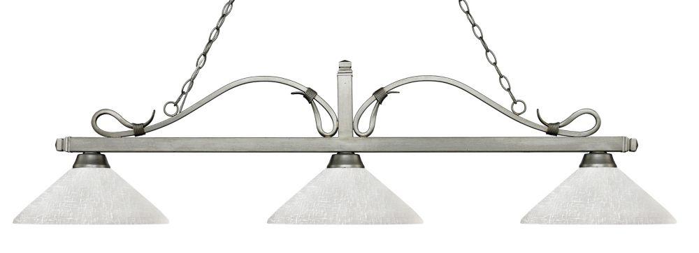 Filament Design 3-Light Antique Silver Island/Billiard with White Linen Glass - 57.75 inch
