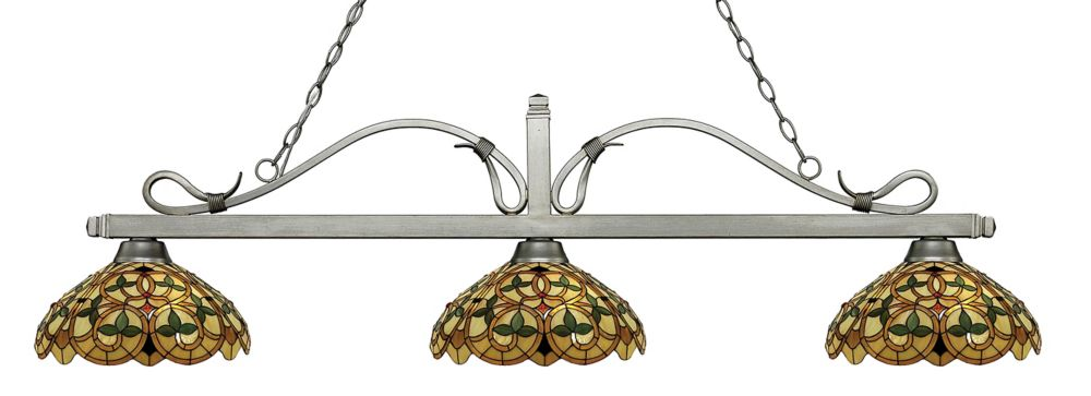 3-Light Antique Silver Billiard with Multi Colored Tiffany Glass Shades - 57.75 inch