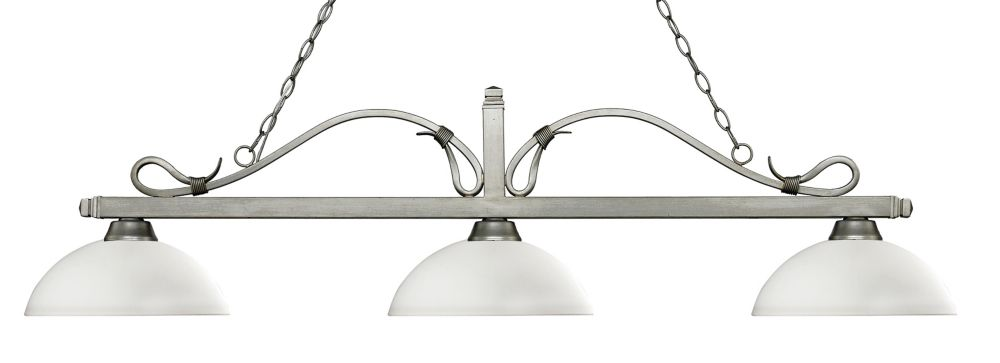 Filament Design 3-Light Antique Silver Island/Billiard with Matte Opal Glass - 57.5 inch