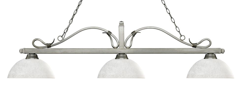 Filament Design 3-Light Antique Silver Island/Billiard with White Linen Glass - 57.5 inch