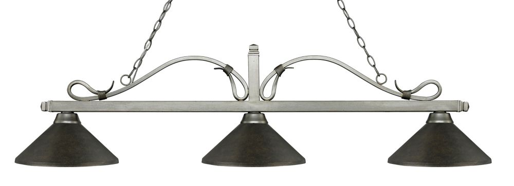 3-Light Antique Silver Island/Billiard with Golden Bronze Steel Shade - 58.25 inch