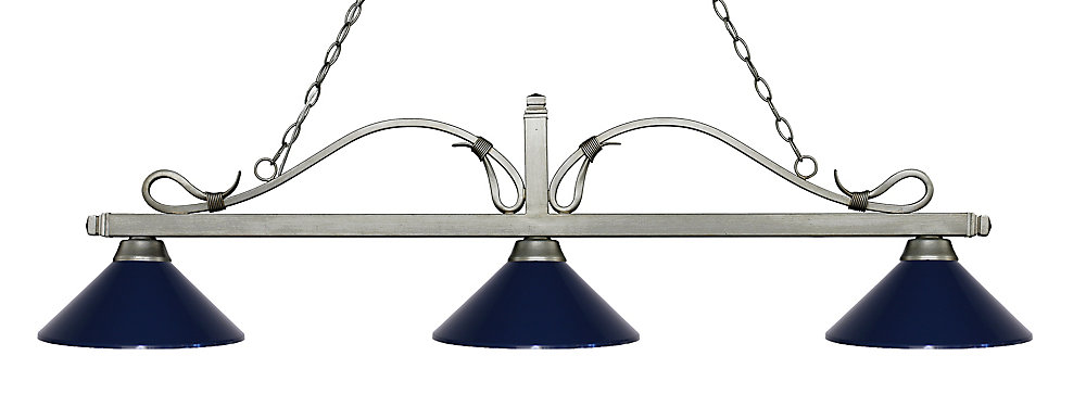 676c04985f7c9 Filament Design 3-Light Antique Silver Island/Billiard with Navy Blue Steel  Shade - 58.25 inch