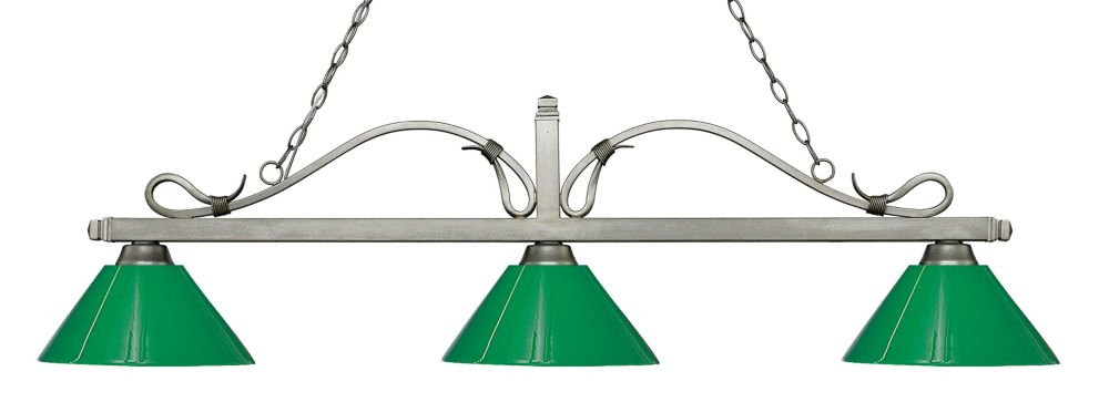 Filament Design 3-Light Antique Silver Island/Billiard with Green Plastic - 58 inch