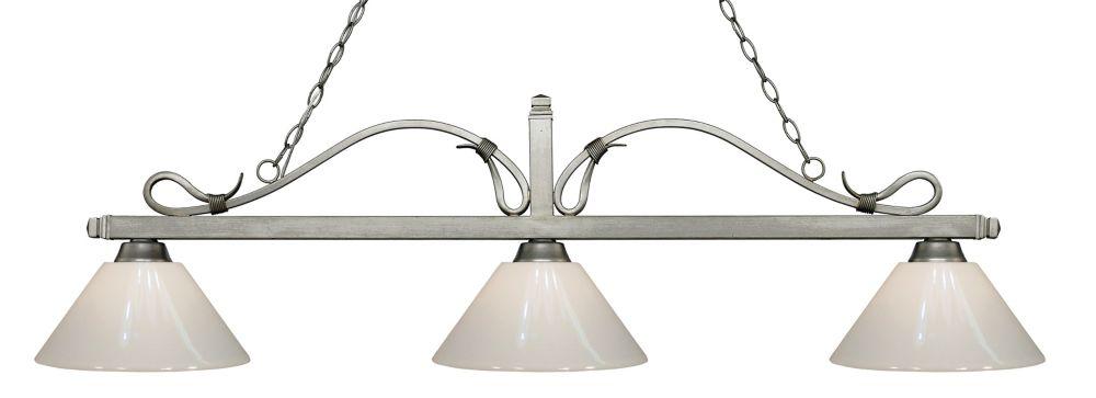 Filament Design 3-Light Antique Silver Island/Billiard with White Plastic - 58 inch