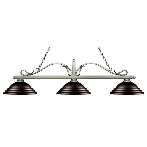 Billard argenté antique à 3 lumières avec abat-jour en acier bronze - 59,75 pouces