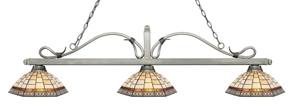 Filament Design 3-Light Antique Silver Island/Billiard with Multi Colored Tiffany Glass - 58.25 inch