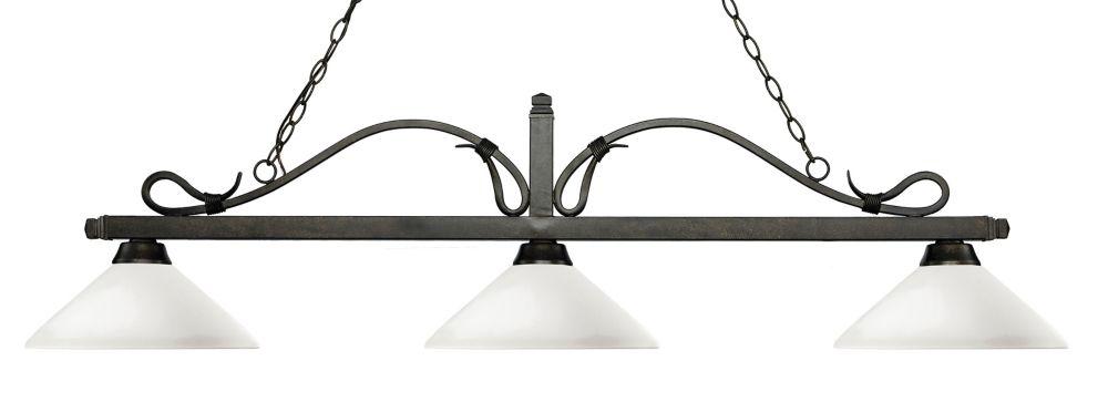 Filament Design 3-Light Golden Bronze Island/Billiard with Matte Opal Glass - 57.75 inch