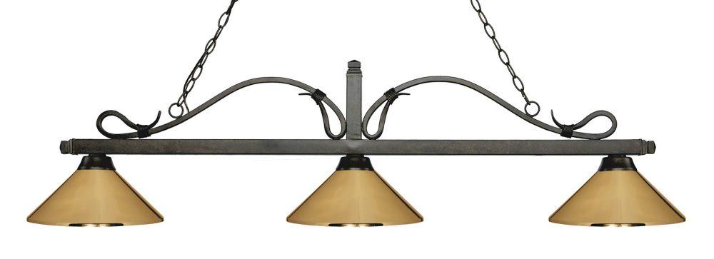 Filament Design 3-Light Golden Bronze Island/Billiard with Polished Brass Steel Shade - 58.25 inch