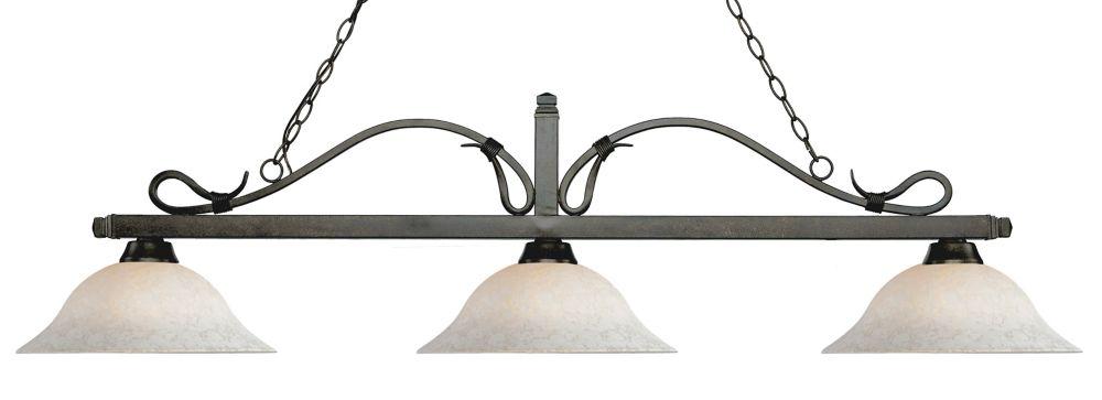 Filament Design 3-Light Golden Bronze Island/Billiard with White Mottle Glass - 60 inch