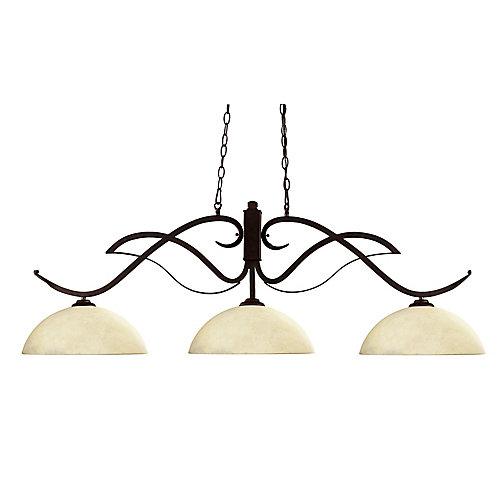 Billard en bronze à 3 ampoules avec abat-jour en verre marbré doré - 52 po